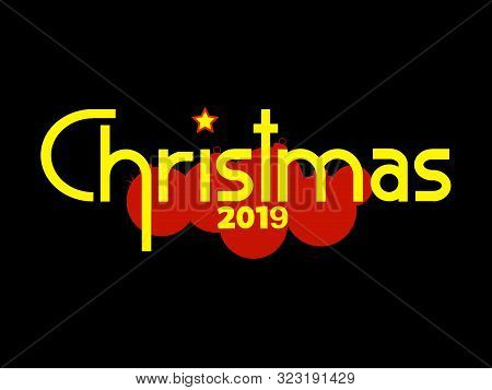 Black Christmas Background With Red Silhouette Of Christmas Baubles And Original Decorative Text 201