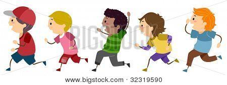 Illustration of Running Boys