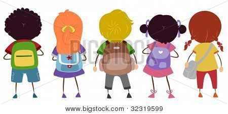 Illustration of Kids Carrying Schoolbags