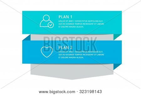 Vector Modern Infographic Template Arrow For Two Diagrams, Graph, Presentation. Business Concept Wit