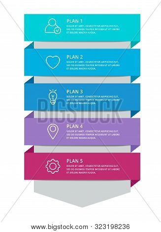 Vector Modern Infographic Template Arrow For Five Diagrams, Graph, Presentation. Business Concept Wi