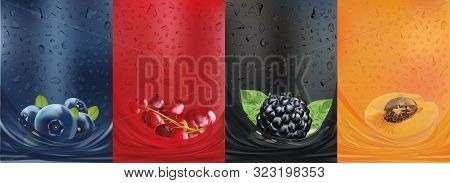 Fruit Juice, Blackberry, Blueberry, Apricot, Red Currant Berry. Fresh Fruits And Green With Green Le