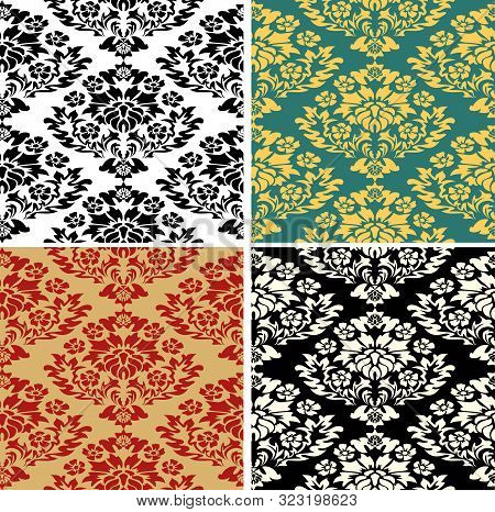 Royal Pattern. Modern Abstract Backdrop. Floral Exotic Vintage Decoration. Seamless Fabric Texture P