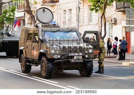 Sevastopol, Crimea - May 5, 2018: Military Iveco Lmv Car Stands On A Street. This Light Multirole Ve