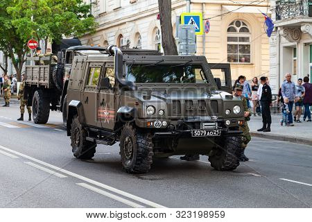 Sevastopol, Crimea - May 5, 2018: Iveco Lmv Military Car Stands On A Street. This Light Multirole Ve