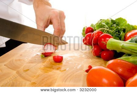Professional Chef Slicing Radish
