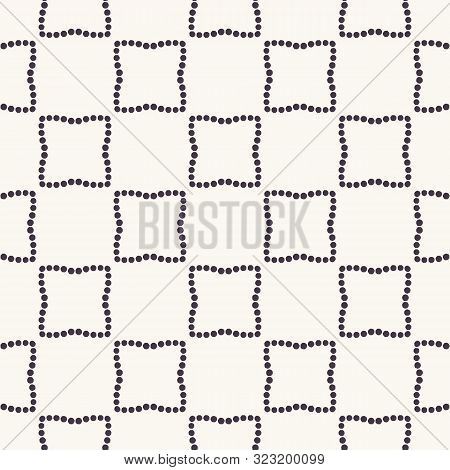 Seamless Pattern. Hand Drawn Polka Dot Background. Monochrome Dotty Black And White Rounded Square.