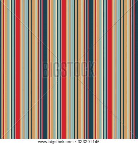 Hand Drawn Abstract Christmas Stripes Seamless Pattern. Vertical Line Striped Background. Winter Hol