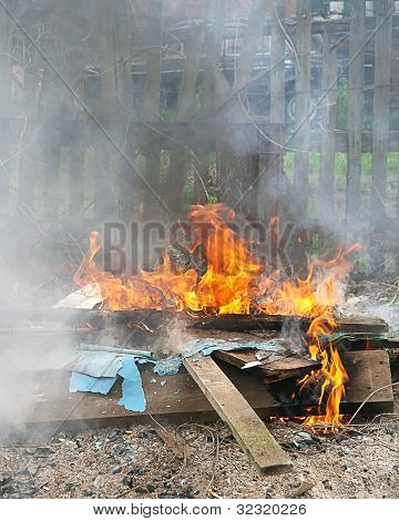 Toxic Fire Smoking Flame In City