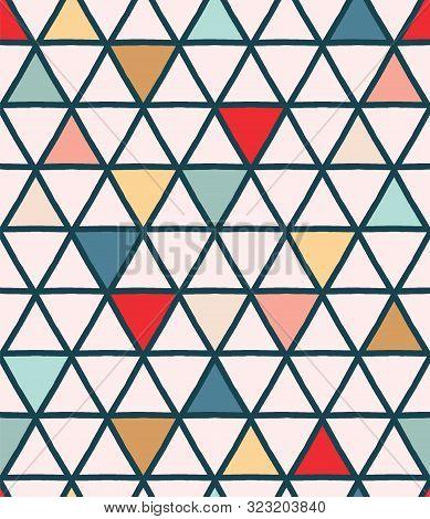 Christmas Geometric Triangle Grid Seamless Pattern. Hand Drawn Mid Century Vector Background. Festiv