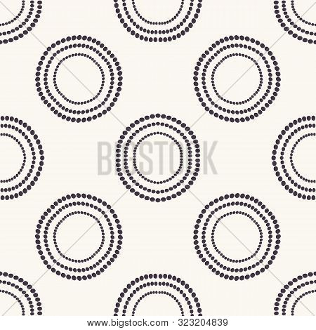 Seamless Pattern. Hand Drawn Polka Dot Background. Monochrome Dotty Black And White Concentric Circl