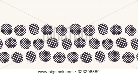 Seamless Border Pattern. Hand Drawn Imperfect Polka Dot Spot Shape Background. Monochrome Textured D