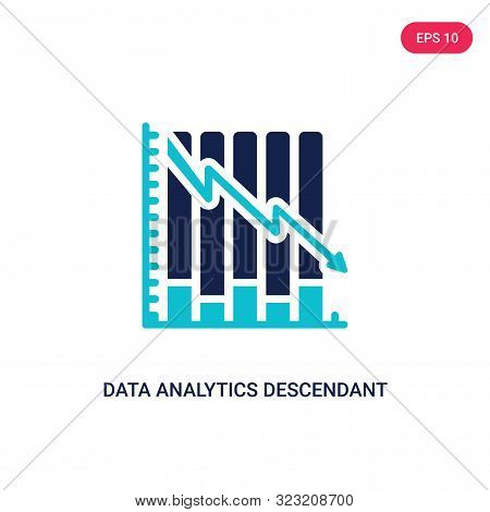 data analytics descendant graphic icon in two color design style.