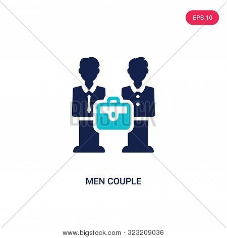 Men Couple Icon In Two Color Design Style. Men Couple Vector Icon Modern And Trendy Flat Symbol For