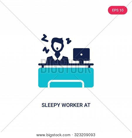 Sleepy Worker At Work Icon In Two Color Design Style. Sleepy Worker At Work Vector Icon Modern And T