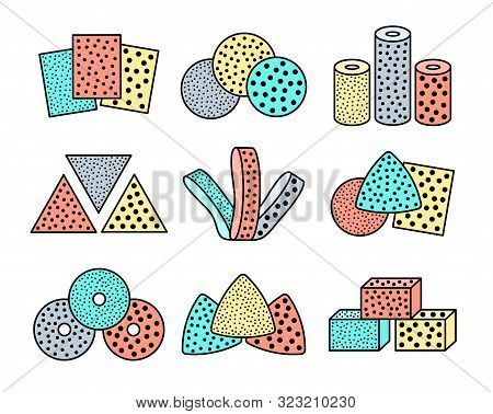 Sandpaper sheets, discs, rolls, triangles. Colorful vector illustration of sanding abrasive paper with assorted grit. Flat line icon set of glasspaper. Isolated objects on white background poster