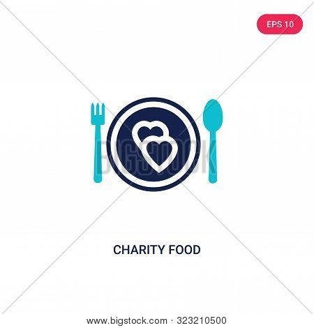 charity food icon in two color design style.