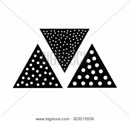 Sandpaper triangle flat icon. Black & white illustration of sanding abrasive paper with grit texture. Glasspaper pads. Isolated objects poster