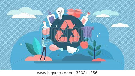 Recycle Vector Illustration. Flat Tiny Products Second Life Person Concept. Reuse Plastic, Paper And