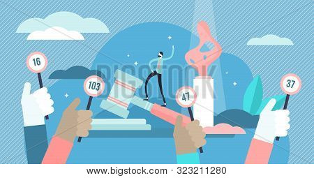 Auction Vector Illustration. Flat Tiny Bid For Product Purchase Persons Concept. Legal Form Of Selli
