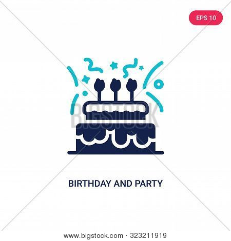 birthday and party icon in two color design style.