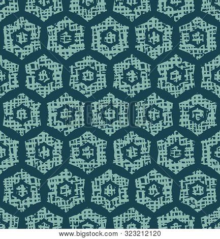 Christmas Geometric Hexagon Grid Seamless Pattern. Hand Drawn Textured Vector Background. Festive Xm