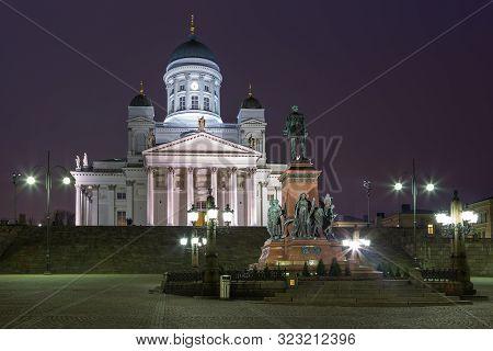 Helsinki, Finland- 28 February 2015: View Of The Helsinki Cathedral, Helsingin Tuomiokirkko, Finnish