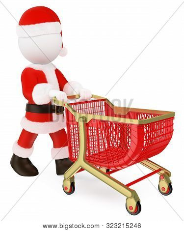3d White People Illustration. Santa Claus Pushing A Shopping Cart Empty. Isolated White Background.