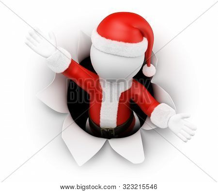 3d White People Illustration. Santa Claus Leaving A Hole In The Paper. Isolated White Background.
