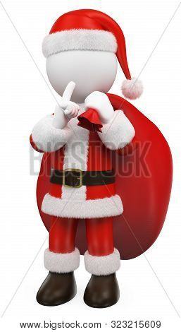 3d White People Illustration. Santa Claus Sending To Shut Up. Isolated White Background.