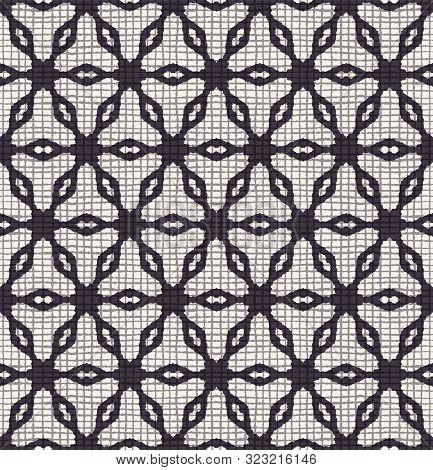 Hand Drawn Abstract Winter Snowflakes Pattern. Stylish Crystal Stars Grid Background. Elegant Black