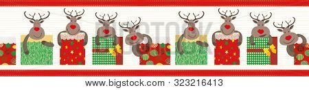 Cute Christmas Vector Border With Red Nosed Reindeer And Presents. Red Stitch Stripe Edging. Seamles