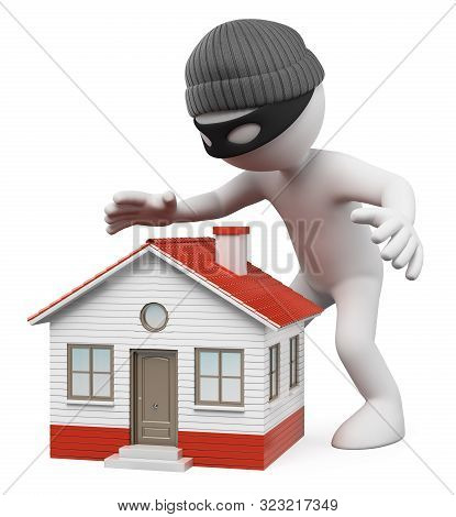 3d White People Illustration. Thief Spying A House To Steal. Isolated White Background.