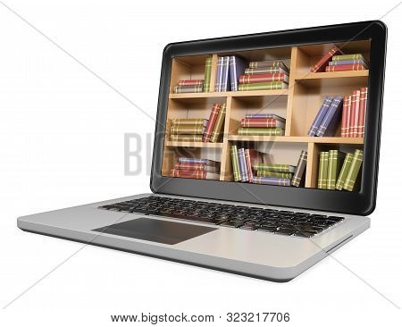 3d Illustration. Laptop. Digital Library Concept. Isolated White Background.