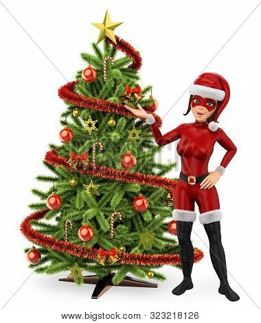 3d Young People Illustration. Woman Superhero With A Christmas Tree. Isolated White Background.