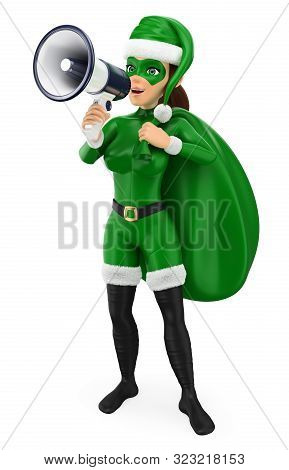 3d Green Christmas People Illustration. Woman Superhero With A Sack Talking On A Megaphone. Isolated