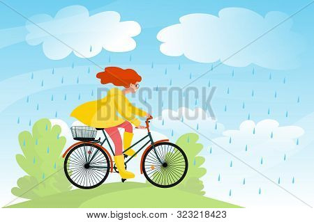 Beautiful Girl In Yellow Raincoat Rides Bicycle In Nature Under Rain, Bike Travel In A Park. Stock V