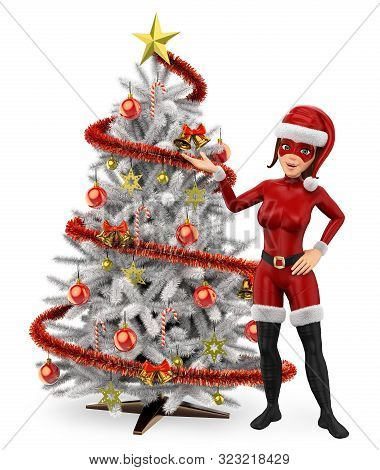 3d Young People Illustration. Woman Superhero With A White Christmas Tree. Isolated White Background