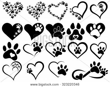 Set Of Hearts With The Paws Of Dogs And Cats. Collection Of Black And White Logos With Footprints Of