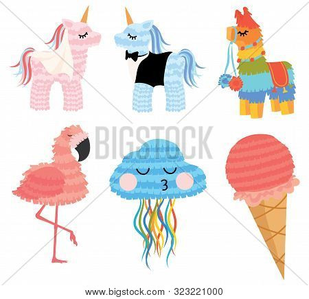 Pinata With The Unicorns Of The Bride And Groom. Pinata For Wedding Traditions. Vector Illustration
