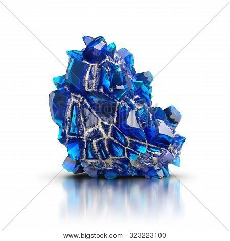 Blue Crystals On A White Reflective Background. 3d Image.