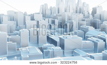 3d Abstract Modern City In Sunny Day. 3d Illustration