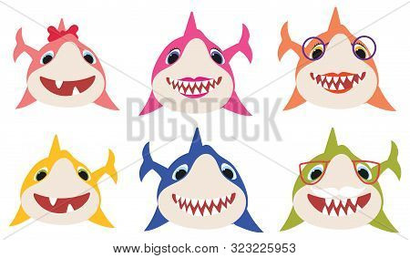Set Of Cartoon Shark Family. Collection Of Stylized Sharks For Children. Vector Illustration Of Cute