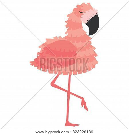 Pink Flamingo Pinata For A Holiday. Animated Pinata Flamingos For Birthday. Vector Illustration For