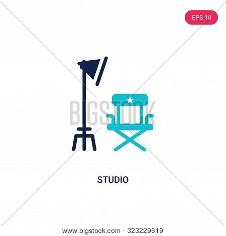 studio icon in two color design style.