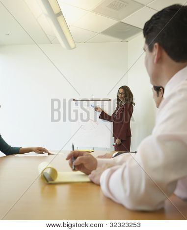 Businesswoman pointing to graph at meeting