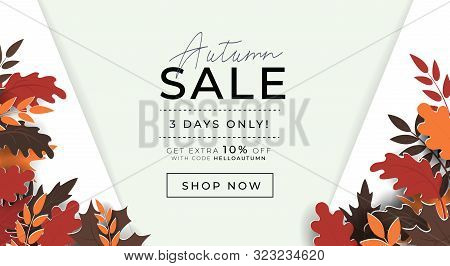 Autumn Sale Promo Banner With Paper Style Leaves Vector Illustration. Template With Profitable Propo