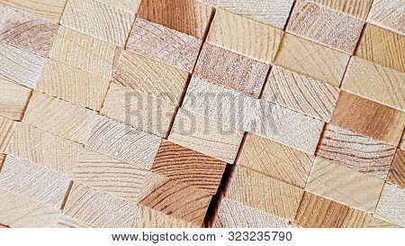 Wood Texture Background. Lumber Industrial Wood Texture. End End Made From Machined Wooden Beam. Glu