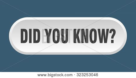 Did You Know Button. Did You Know Rounded White Sign. Did You Know
