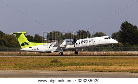 Borispol, Ukraine - September 10, 2019: Yl-bah Air Baltic Bombardier Dhc-8-400 Aircraft Departing Fr